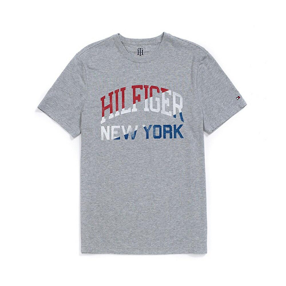 美國百分百【Tommy Hilfiger】T恤 TH 男 T-shirt 短袖 短T logo NY 灰 S號 F538