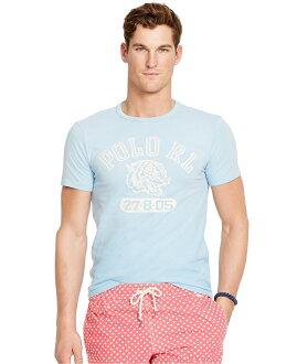 美國百分百【Ralph Lauren】T恤 男衣 RL 短袖 上衣 T-shirt Polo 虎頭 復古 水藍 XS S M號 F539