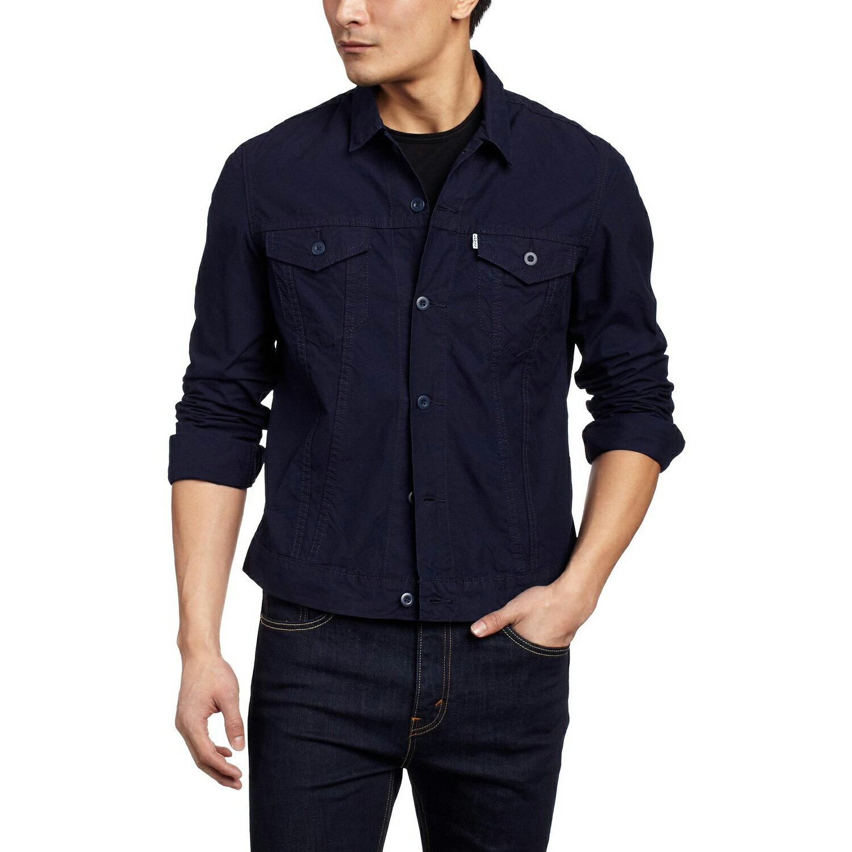 美國百分百【全新真品】Levis 外套 立領 夾克 牛仔 硬挺 修身 帥氣 經典 輕薄款 深藍 M L號 F541