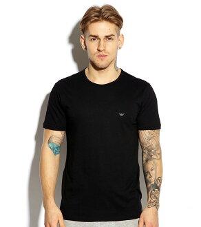 美國百分百【全新真品】Emporio Armani T恤 男 短袖 logo T-shirt EA 素面 黑色 S號 F550