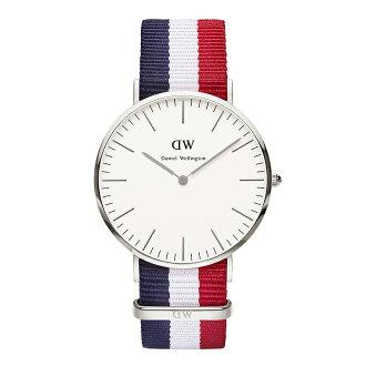 美國百分百【Daniel Wellington】DW Cambridge 手錶 男 女 腕錶 尼龍錶帶 銀框 藍白紅