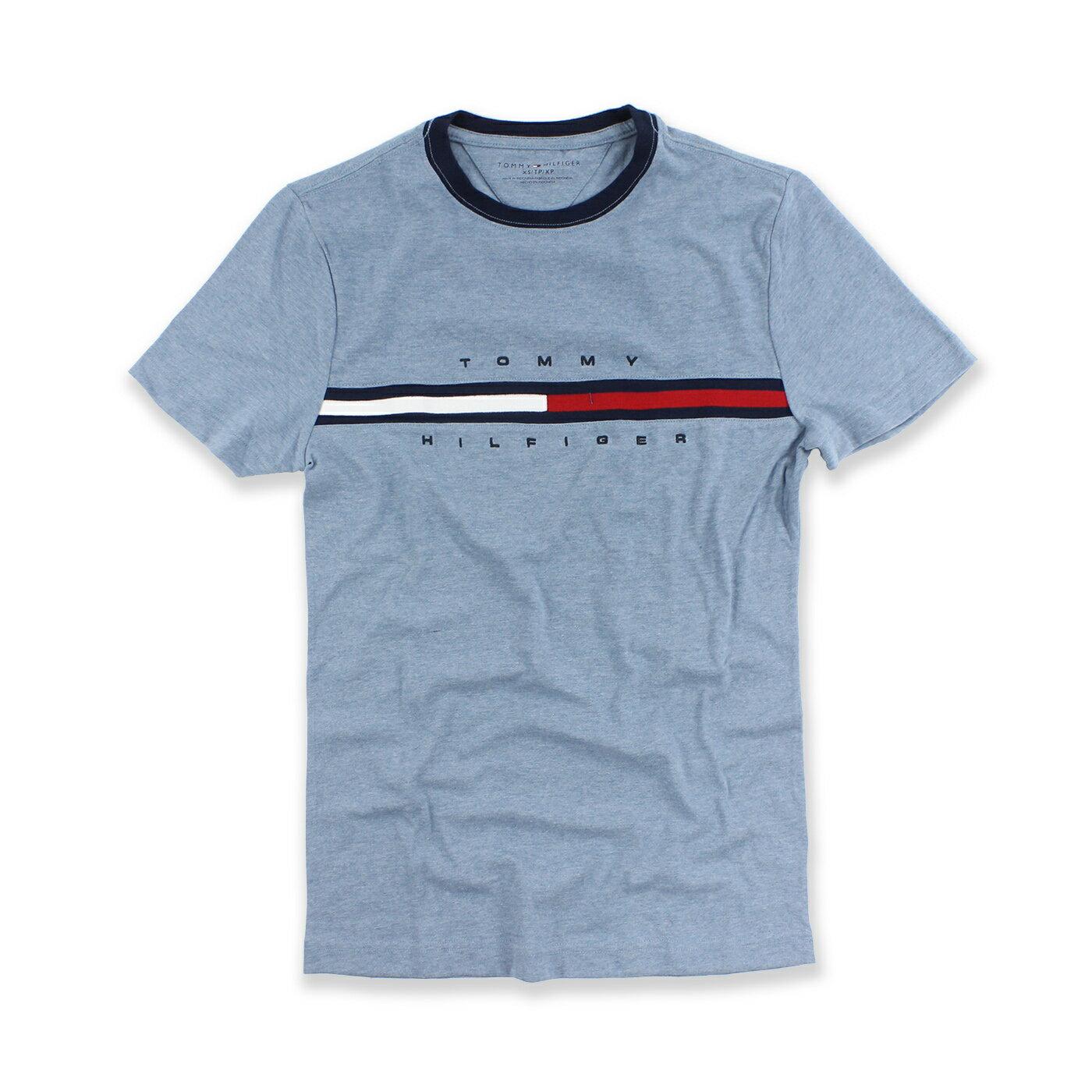 美國百分百【Tommy Hilfiger】T恤 TH 男 Logo 圖案 短袖 素面 T-Shirt 藍灰 XS號 A794