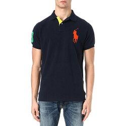 美國百分百【全新真品】Ralph Lauren 短袖 Polo衫 RL 網眼 大馬 素面 深藍 橘馬 男 上衣 S號 E157