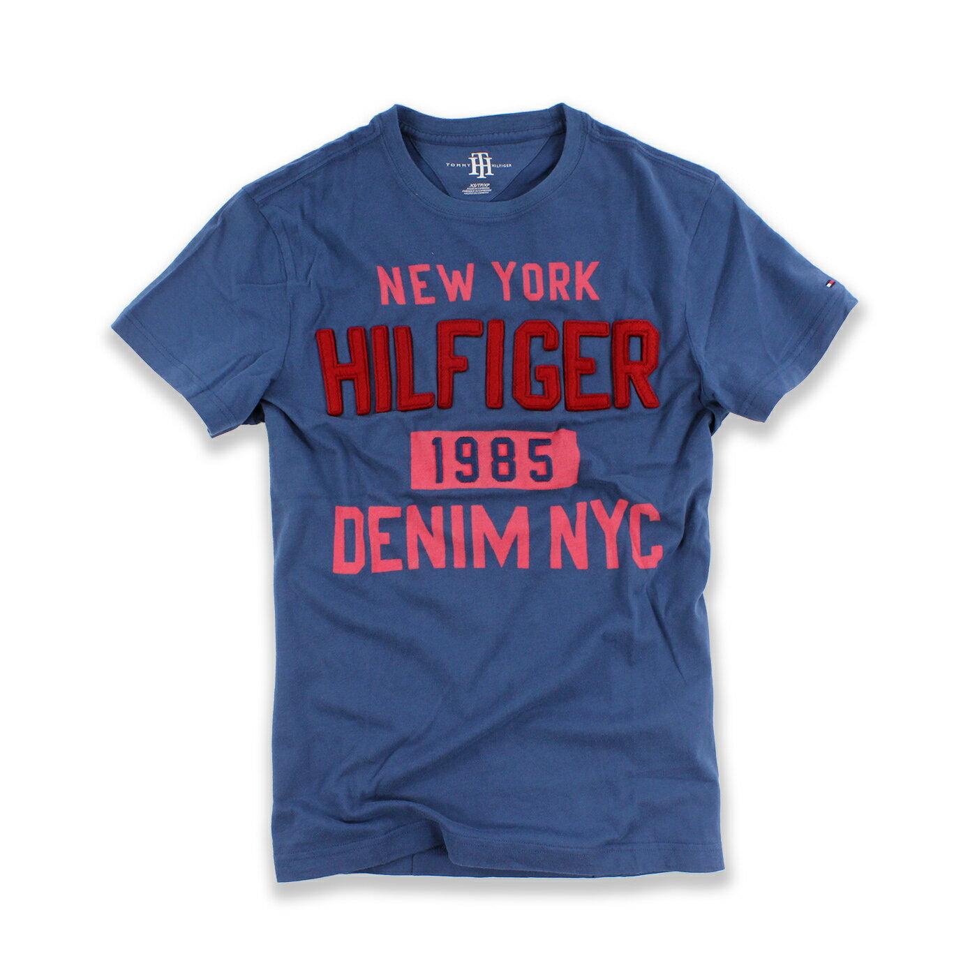 美國百分百【Tommy Hilfiger】T恤 TH 男 圓領 T-shirt 短袖 文字 復古 藍灰 XS號 F565