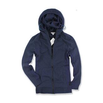 美國百分百【全新真品】Calvin Klein 外套 CK 夾克 連帽 網眼 透氣 休閒 logo 深藍 S號 F584
