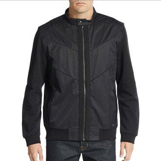 美國百分百【全新真品】Calvin Klein 外套 CK 夾克 立領 騎士 修身 尼龍 logo 黑色 男 S M L XL號 F586