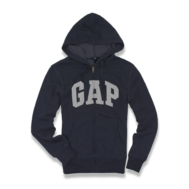 美國百分百【全新真品】GAP 外套 上衣 長袖 連帽 LOGO 貼布 刷毛 深藍 灰字 現貨 男款 上衣 XS號 E927