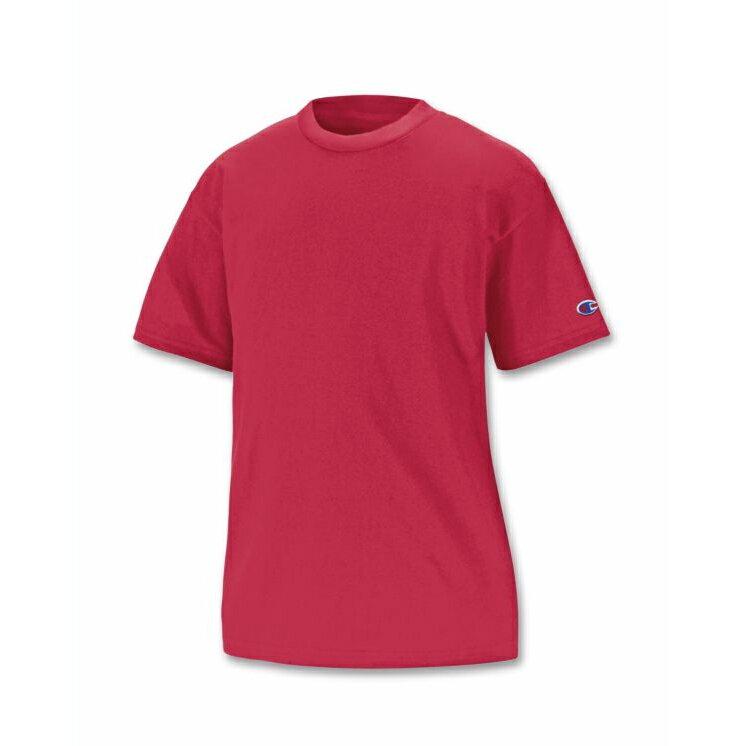 美國百分百【Champion】冠軍 T恤 短袖 T-shirt logo 素T 排汗 快乾 高磅數 紅色 XS S號 F386