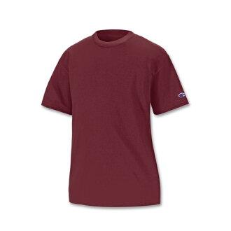 美國百分百【Champion】冠軍 T恤 短袖 T-shirt logo 素T 排汗 快乾 高磅數 酒紅色 XS S號 F386