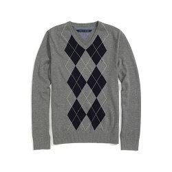 美國百分百【Tommy Hilfiger】針織衫 TH 線衫 毛衣 菱格 V領 學院風 灰色 XS S M號 F607