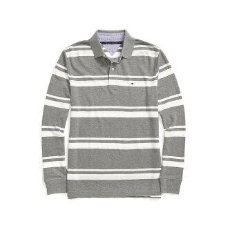 美國百分百【全新真品】Tommy Hilfiger Polo衫 TH 長袖 上衣 條紋 網眼 灰色 XS S號 F612