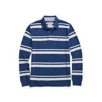美國百分百【全新真品】Tommy Hilfiger Polo衫 TH 長袖 上衣 條紋 網眼 藏藍 XS號 F612