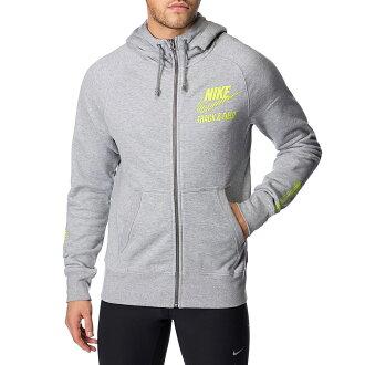 美國百分百【全新真品】Nike 連帽 外套 耐吉 上衣 吸汗 排汗 運動 男 螢光 LOGO 灰色 XS號 F625