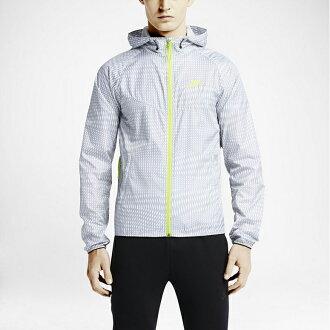美國百分百【全新真品】Nike 連帽 外套 耐吉 風衣 快乾 運動 男 螢光 LOGO 可收納 灰白 XS號 F626