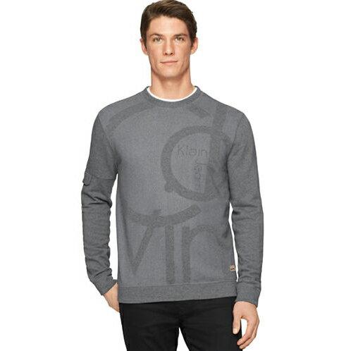 美國百分百【全新真品】Calvin Klein T恤 CK logo 長袖 T-shirt 大學T 灰色 S號 F642