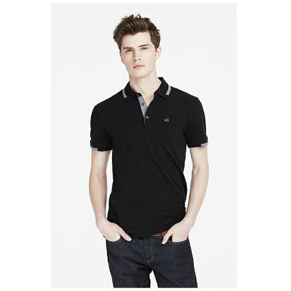 美國百分百:美國百分百【ArmaniExchange】polo衫AX短袖上衣素面網眼滾邊黑色SM號男F651
