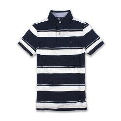 美國百分百【全新真品】Tommy Hilfiger Polo衫 TH 短袖 上衣 條紋 棉 白色 深藍 XXS F652