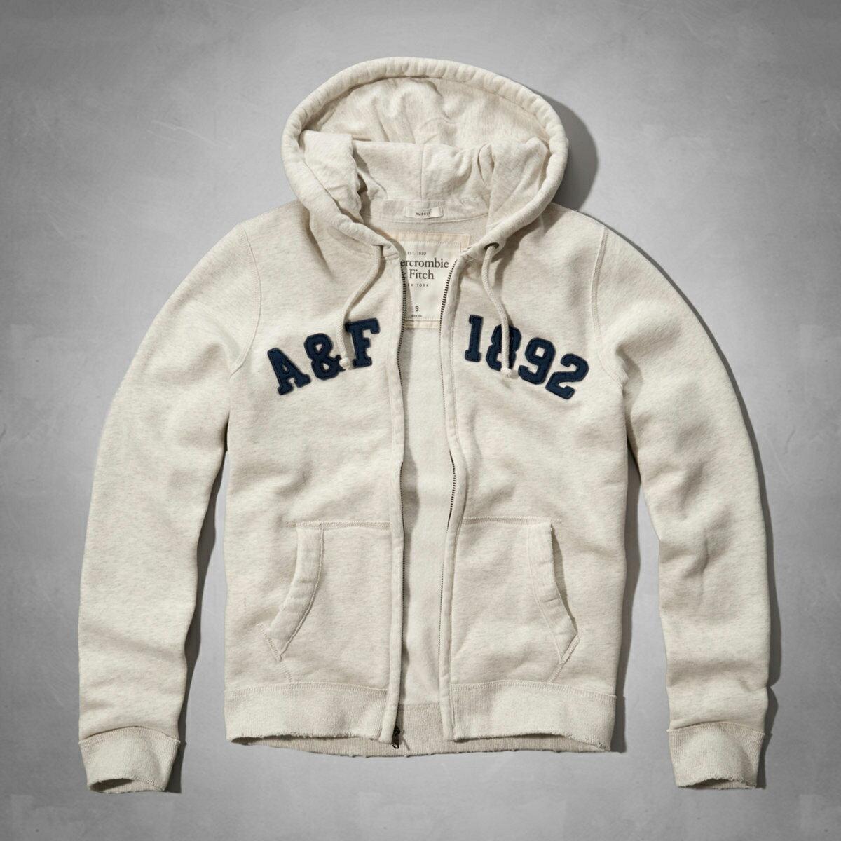 美國百分百【Abercrombie & Fitch】外套 AF 連帽 長袖 夾克 麋鹿 米白色 大尺碼 L XL XXL號 F667