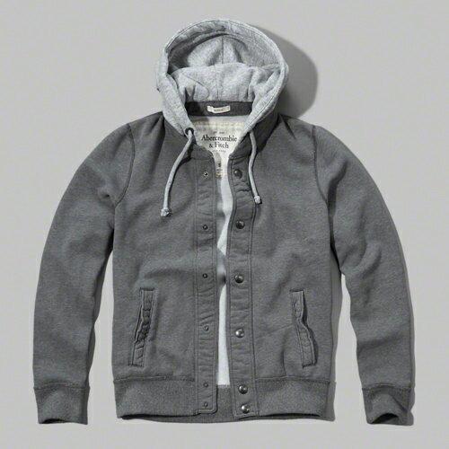 美國百分百:美國百分百【Abercrombie&Fitch】外套AF連帽長袖夾克麋鹿銅扣壓扣灰色特價SMLXL號F669