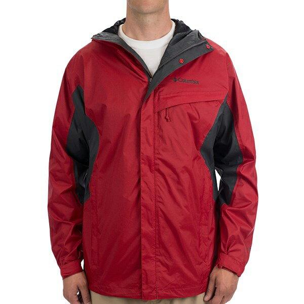 美國百分百【全新真品】Columbia 外套 哥倫比亞 連帽 防水 防風 快乾 輕量 透氣 紅色 灰 男 S號 F678