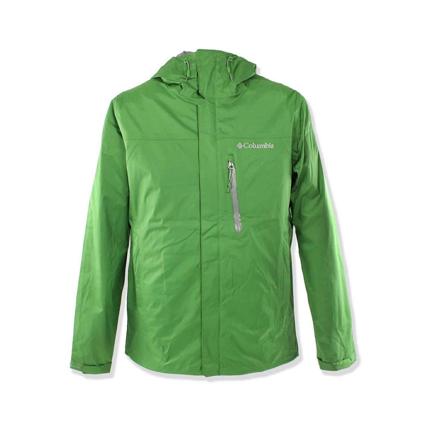 美國百分百【全新真品】Columbia 外套 哥倫比亞 連帽 防水 防風 快乾 輕量 透氣 綠色 男 M號 F679