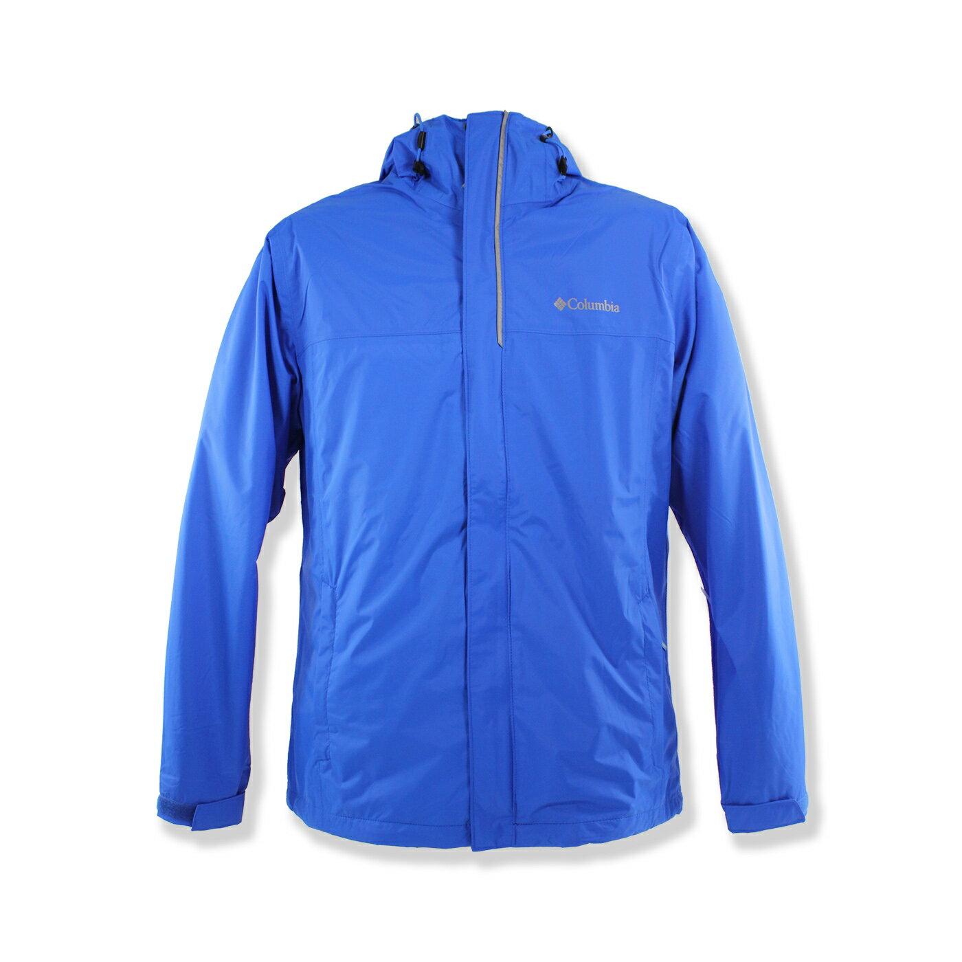 美國百分百【全新真品】Columbia 外套 哥倫比亞 連帽 防水 防風 快乾 輕量 透氣 藍色 男 M號 F680