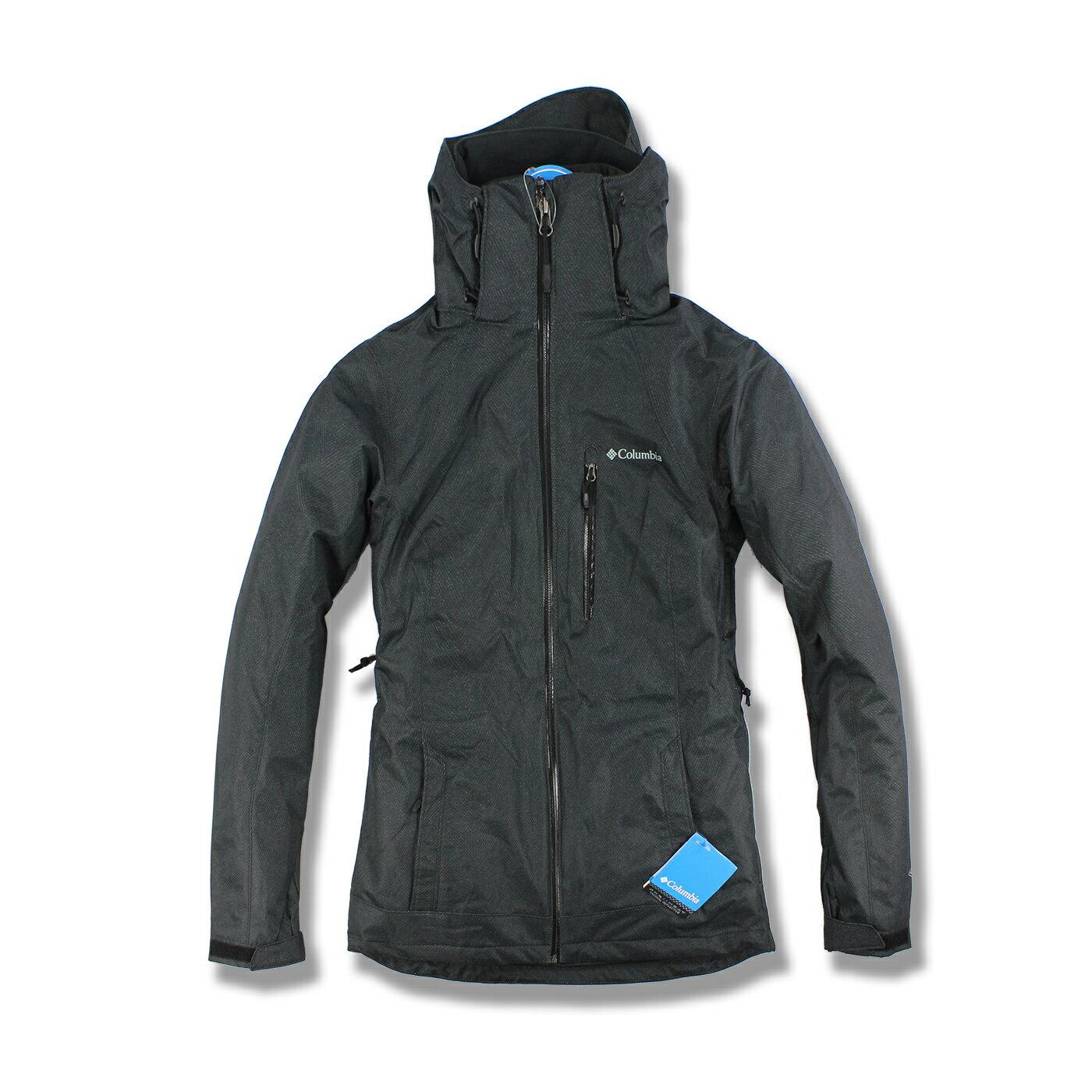 美國百分百【全新真品】Columbia 外套 夾克 連帽外套 哥倫比亞 兩件式 防水 發熱 墨黑色 女 XS號 F682