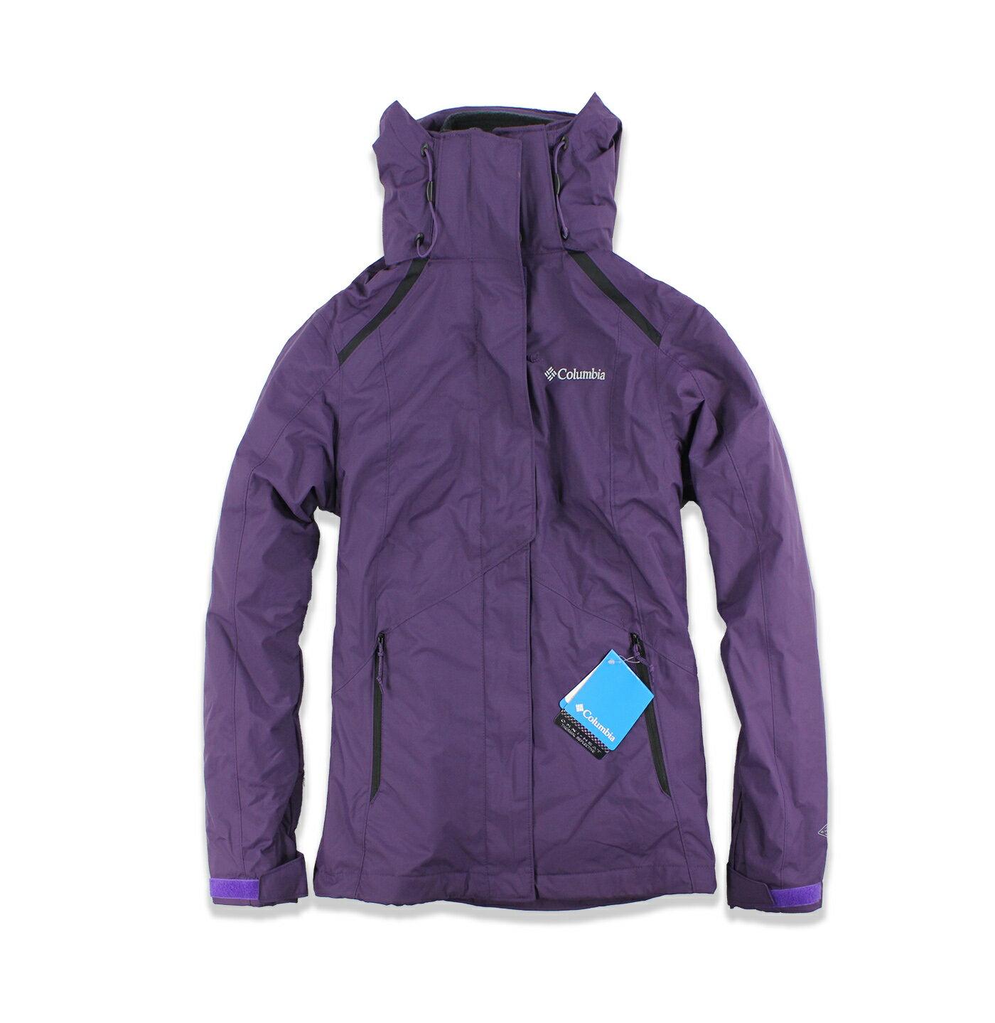 美國百分百【Columbia】外套 夾克 連帽外套 哥倫比亞 兩件式 防水 發熱 紫色 女衣 S M號 F683