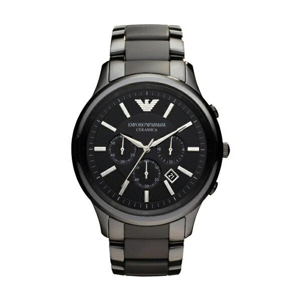 美國百分百:美國百分百【EmporioArmani】配件手錶腕錶男錶石英老鷹不鏽鋼陶瓷三眼消光霧面F686