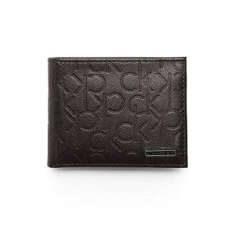 美國百分百【Calvin Klein】皮夾 CK 短夾 真皮 二折 皮革 質感 鈔票 壓紋 男 深咖啡色 F633