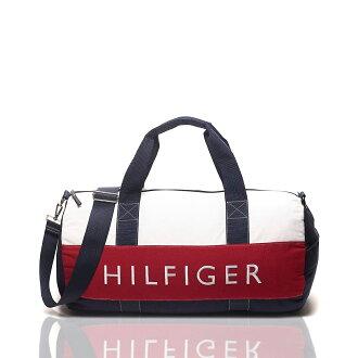 美國百分百【Tommy Hilfiger】旅行袋 TH 圓筒包 運動包 側背包 出國 經典 深藍 白紅 男 女 F645