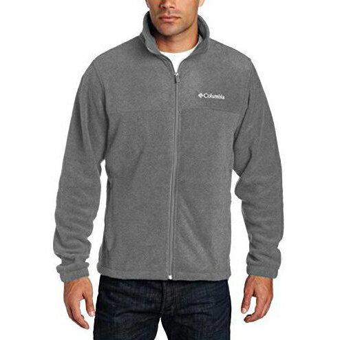 美國百分百【全新真品】Columbia 外套 夾克 立領 哥倫比亞 Fleece 灰色 刷毛 保暖 S號 B755
