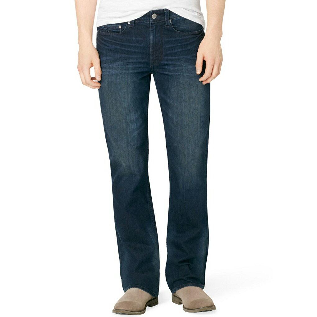 美國百分百【Calvin Klein】牛仔褲 CK 休閒褲 長褲 單寧 靴型褲 小喇叭 男 藍色 刷色 抓紋 30 34 36 38腰 F689