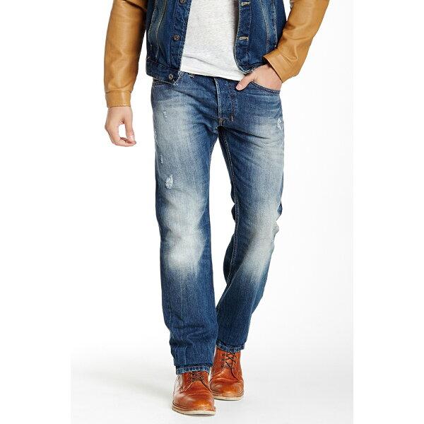美國百分百:美國百分百【Diesel】褲子SAFADO牛仔褲丹寧褲休閒褲小直筒Slim藍色刷白破壞30腰F692