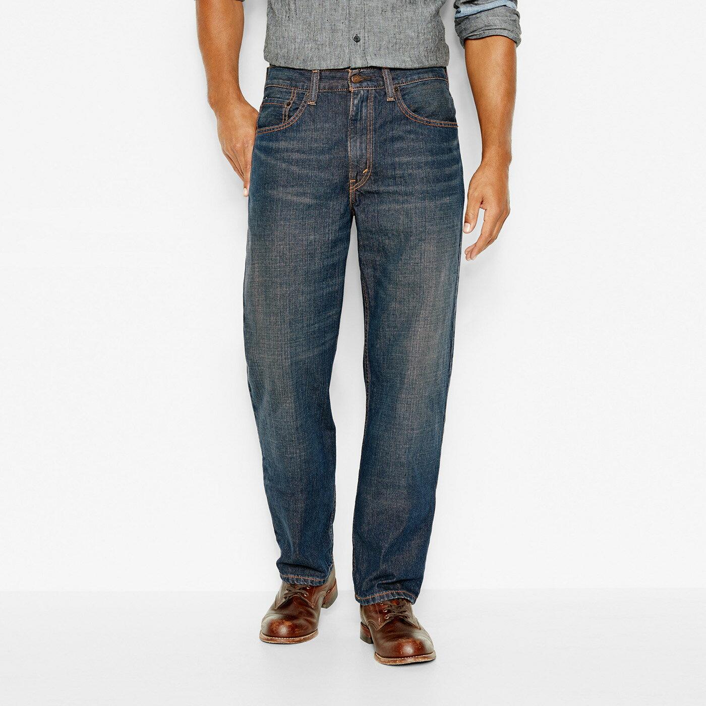 美國百分百【Levis 550】RELAXED FIT 牛仔褲 寬筒 寬鬆 合身 52腰 洗舊藍 大尺碼 F695