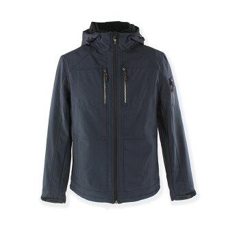 美國百分百【Calvin Klein】外套 CK 夾克 防風 防潑水 透氣 保暖 連帽 軟殼 深藍 S號 F725