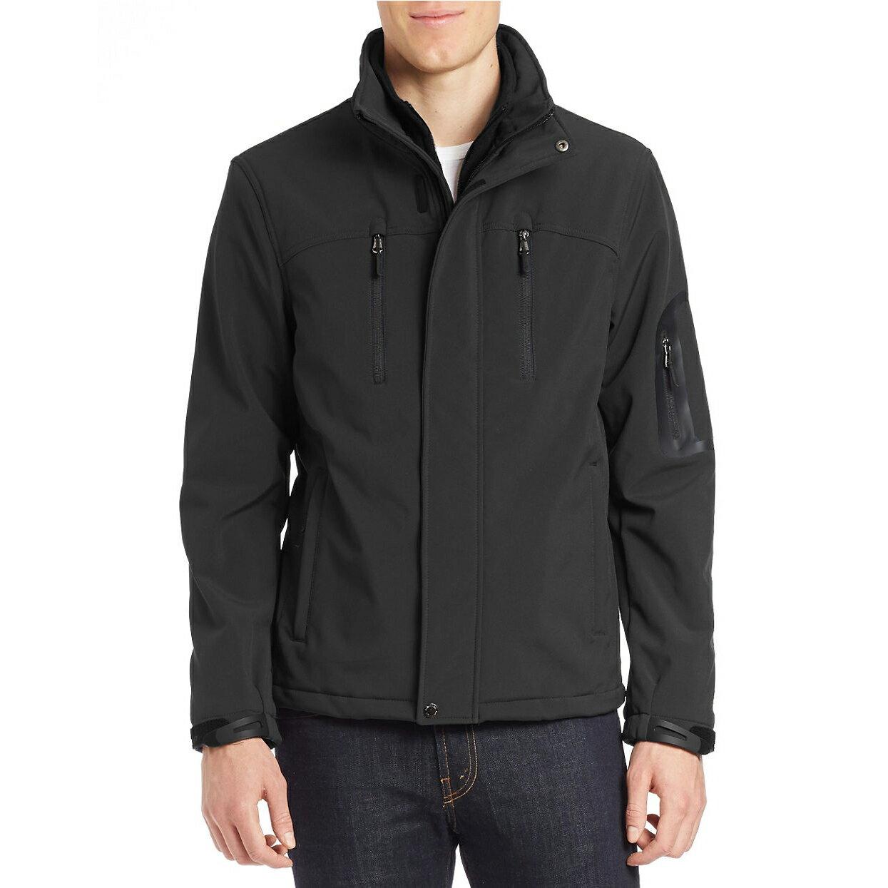 美國百分百【Calvin Klein】外套 CK 夾克 防風 防潑水 透氣 保暖 立領 軟殼 黑色 S M號 F726