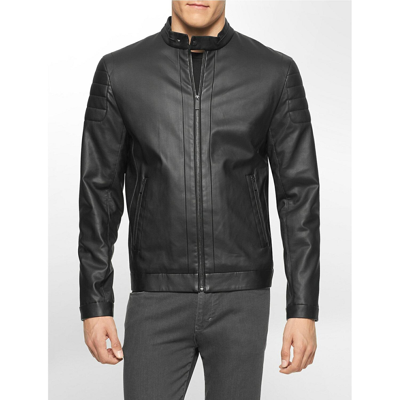 美國百分百【全新真品】Calvin Klein 外套 CK 夾克 皮衣 騎士 立領 帥氣 皮外套 S號 F730