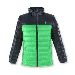 美國百分百【Ralph Lauren】羽絨 外套 RL Polo 小馬 拼色 撞色 深藍 綠色 男 XS號 F736