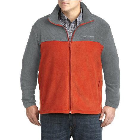 美國百分百【全新真品】Columbia 外套 夾克 立領 哥倫比亞 Fleece 灰色 橘色 刷毛 保暖 S號 F757