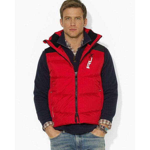 美國百分百:美國百分百【全新真品】RalphLauren羽絨背心RLX上衣Polo運動男紅色M號F759