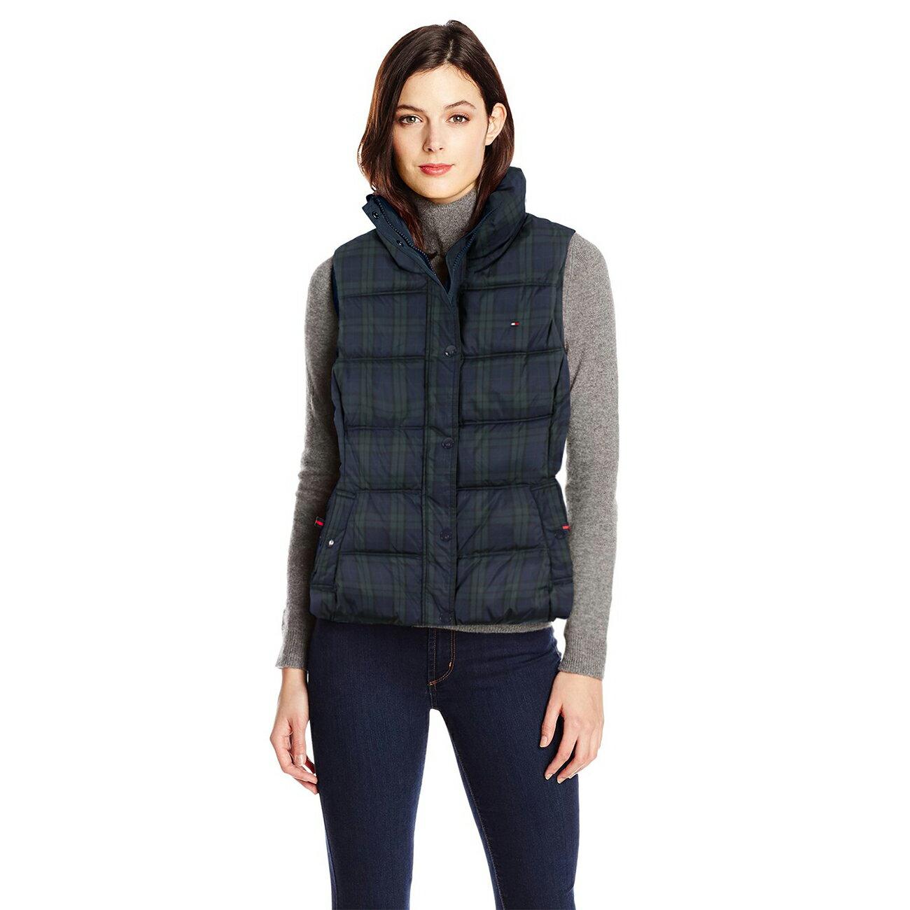 美國百分百【Tommy Hilfiger】背心 TH 外套 中空纖維 保暖 格紋 深藍 深綠 S M號 女 F760