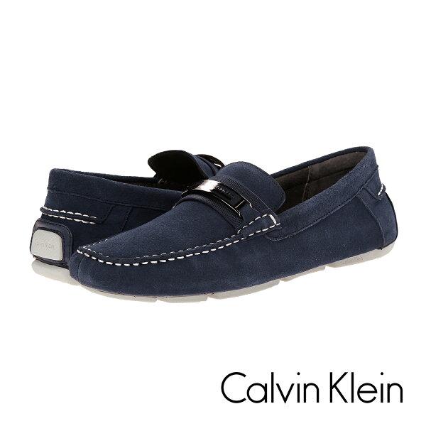 美國百分百:美國百分百【CalvinKlein】鞋子CK麂皮深藍休閒鞋樂福鞋Loafer皮鞋豆豆鞋男鞋US9號10.5號11號F790