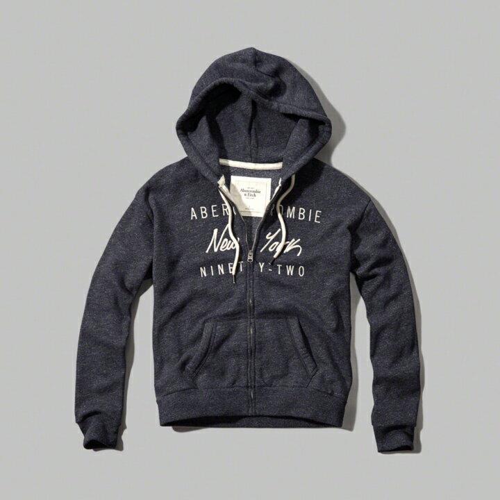 美國百分百【Abercrombie & Fitch】連帽 AF 外套 麋鹿 藍灰 長袖 女 XS S號 特價 C809
