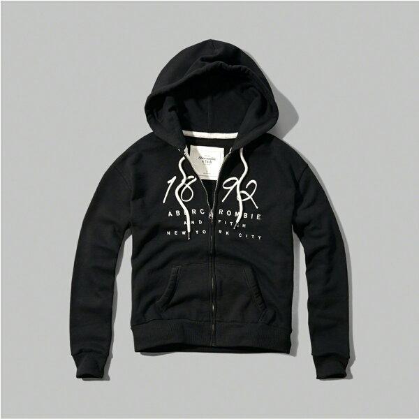 美國百分百:美國百分百【Abercrombie&Fitch】連帽AF外套麋鹿黑色長袖女XSSM特價C810