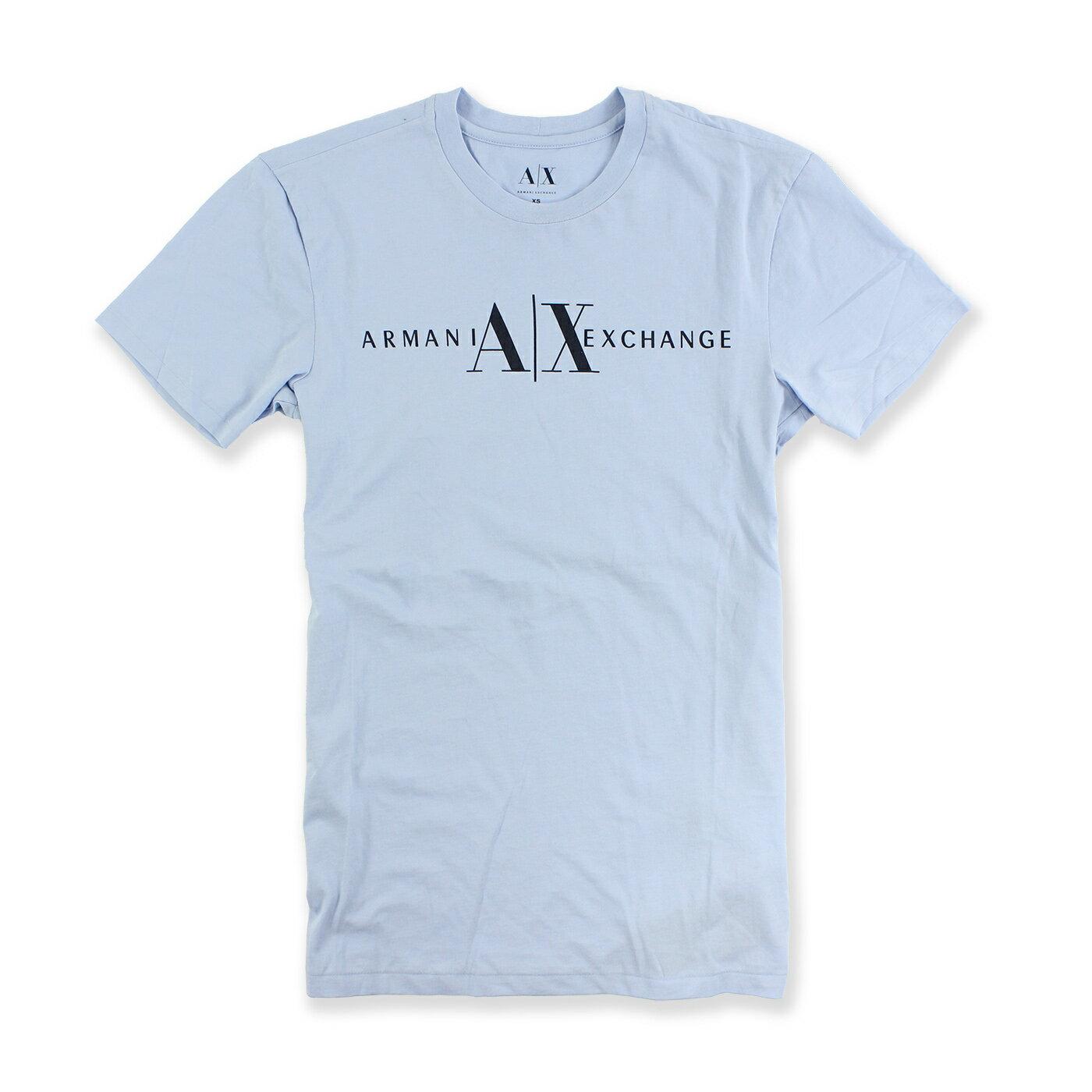 美國百分百【Armani Exchange】T恤 AX 短袖 logo 上衣 T-shirt 水藍 M號 男 E814