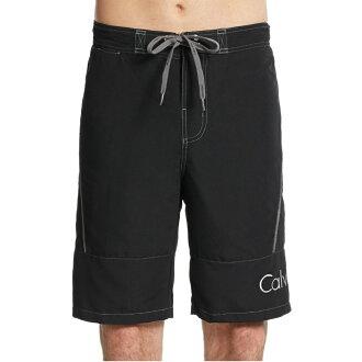 美國百分百【Calvin Klein】短褲 CK 休閒褲 海灘褲 泳褲 沙灘褲 衝浪褲 黑色 灰色 男 SM號 F485