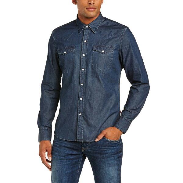 美國百分百:美國百分百【全新真品】Levis襯衫長袖牛仔單寧上衣經典珠扣口袋高磅數深藍SM號F491