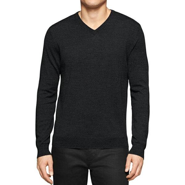 美國百分百:美國百分百【全新真品】CalvinKlein針織衫CK長袖美麗諾上衣鐵灰素面V領SM號F696