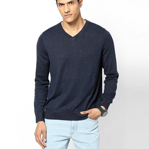 美國百分百:美國百分百【全新真品】NAUTICA帆船牌針織衫線衫V領素面純棉毛衣藏藍SMLXL號F697